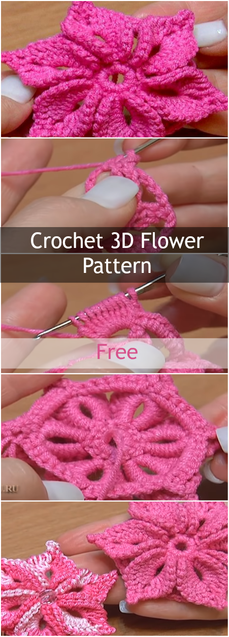 Crochet 3D Flowers Pattern - Free Tutorial For Crocheting Beautiful Spring Projects And Ideas