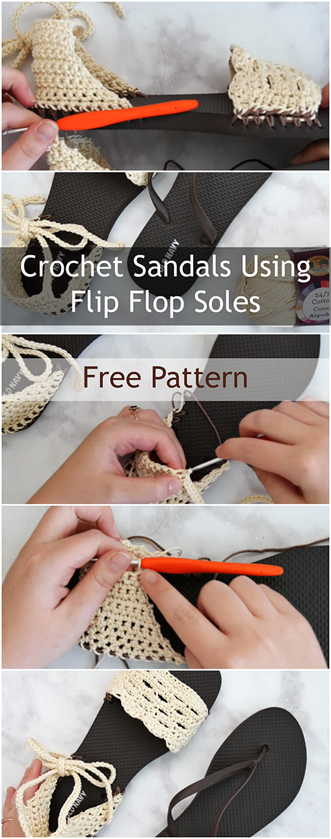 Crochet Sandals Using Flip Flop Soles - Free Pattern And Video Tutorial For Slippers And Sandals For Women, Baby And Men This Summer