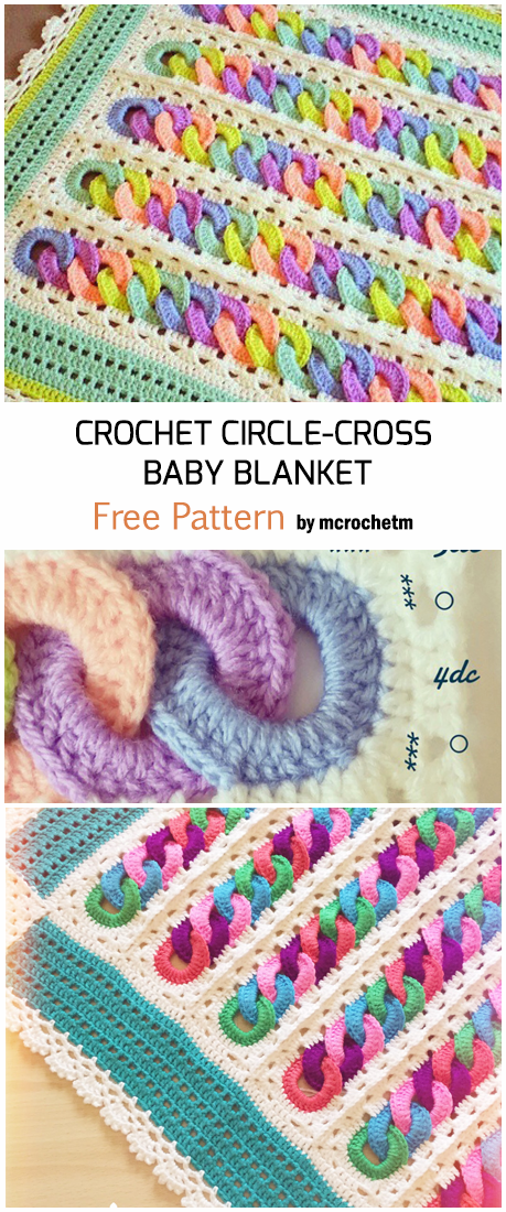 Crochet Circles Crossed Rainbow Baby Blanket - Free Pattern