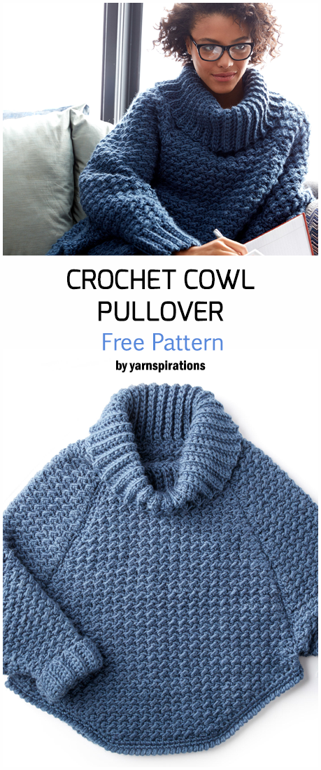 Crochet Curvy Cowl Pullover - Free Pattern