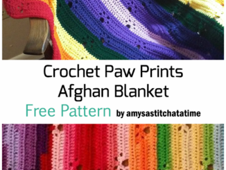Crochet Paw Prints Over The Rainbow Afghan Baby Blanket - Free Pattern