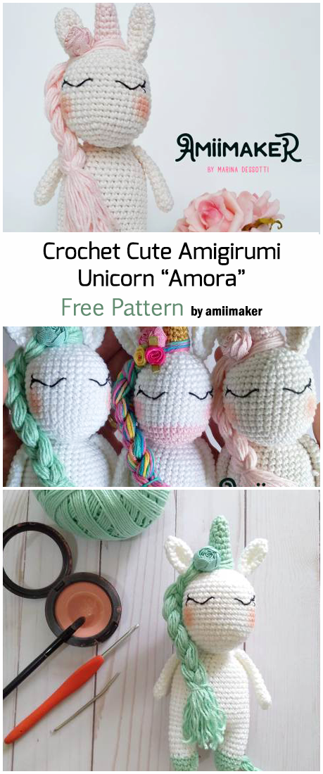 Amigurumi unicorn free pattern | Tutoriale | 1100x459