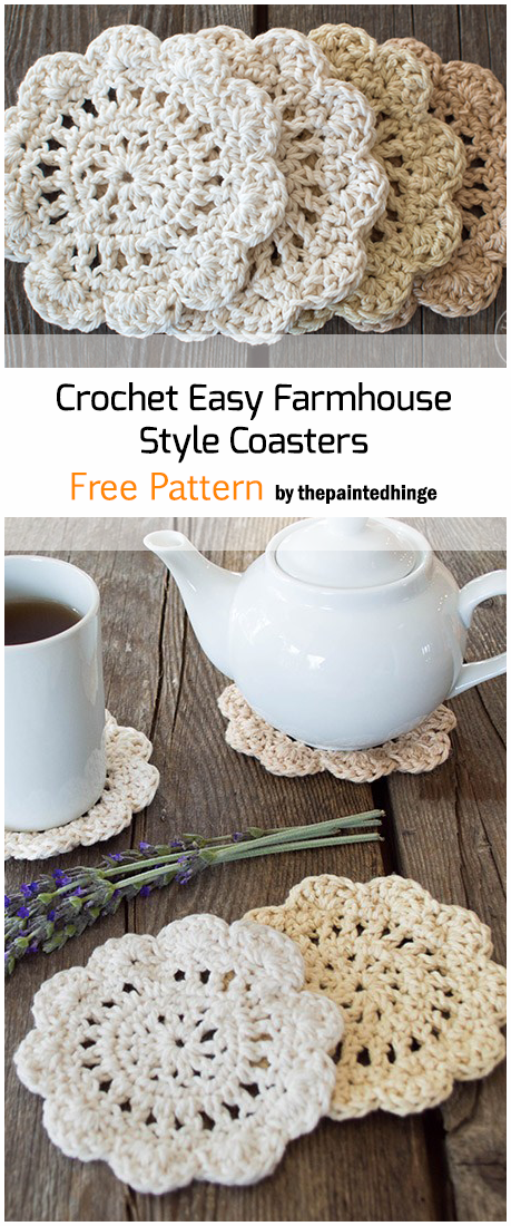 Crochet Farmhouse Style Coasters - Free Pattern
