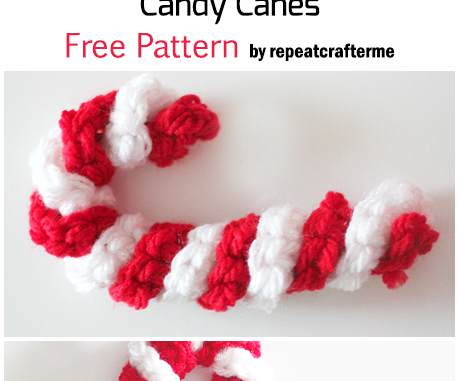 Crochet Easy Christmas Candy Canes - Free Pattern