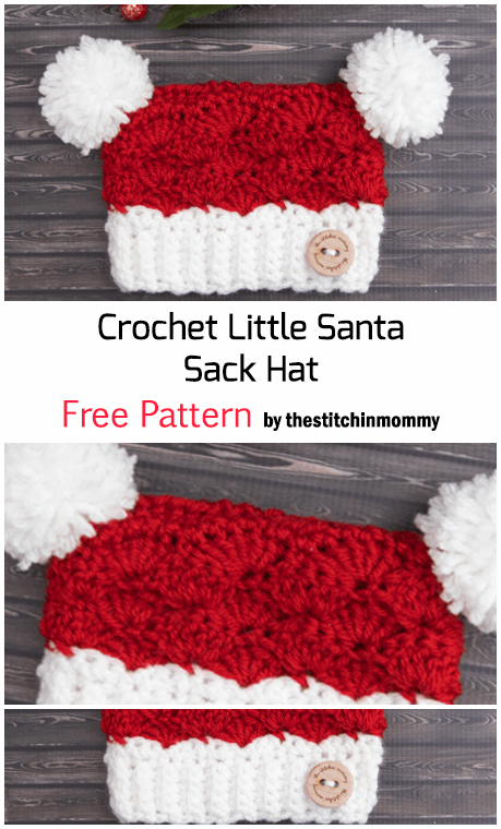 Crochet Little Santa Sack Hat - Free Pattern