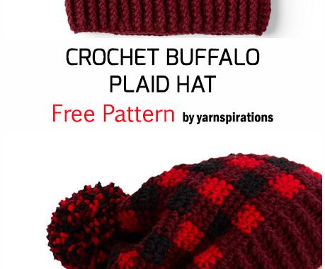 Crochet Buffalo Plaid Hat - Free Pattern