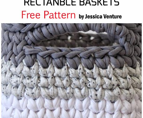 Crochet Mini Ombre Rectangle Storage Baskets