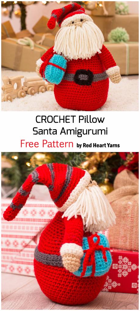 Crochet Pillow Santa Amigurumi For Christmas - Free Pattern