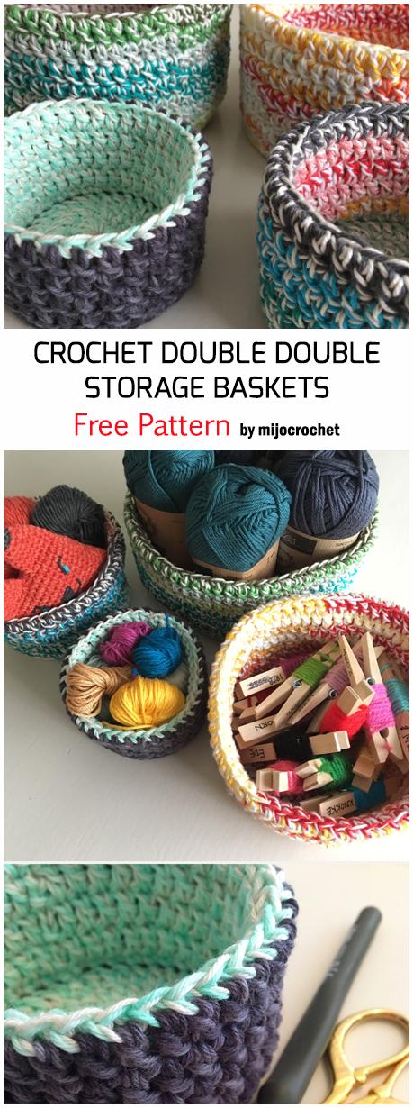 Crochet Double Double Storage Baskets - Free Pattern