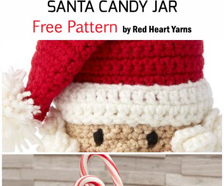 Crochet Santa Candy Jar For Christmas - Free Pattern