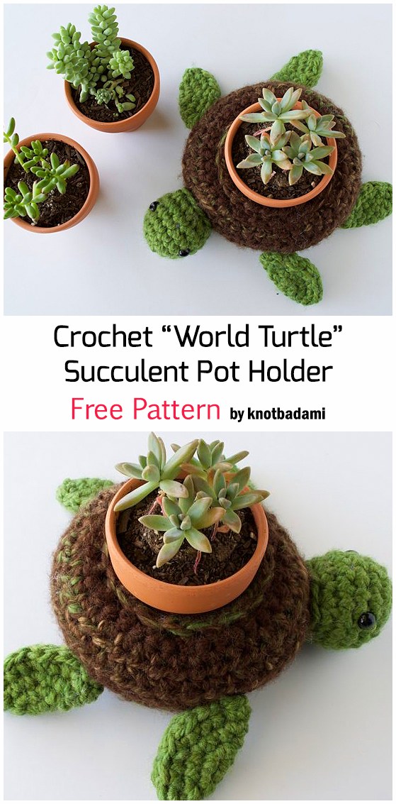 "Crochet ""World Turtle"" Succulent Pot Holder - Free Pattern"