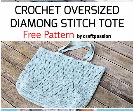 Crochet Oversized Diamond Stitch Tote - Free Pattern