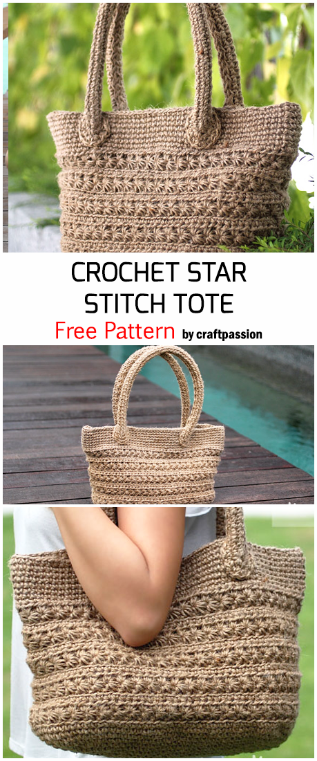 Crochet Star Stitch Tote - Free Pattern