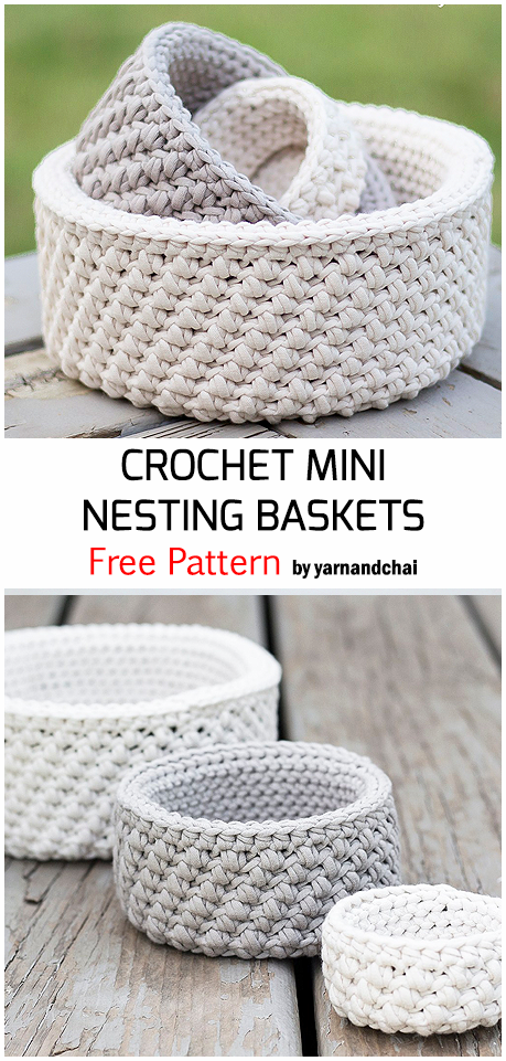 Crochet Mini Nesting Baskets - Free Pattern