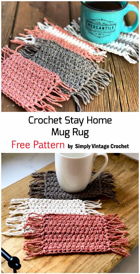 Crochet Stay Home Mug Rug - Free Pattern